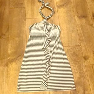 Mossimo gray and white halter ruffle dress
